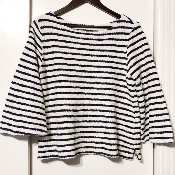 Old Navy Sweaters - Navy + White Striped Chunky Wide Sleeved Blouse